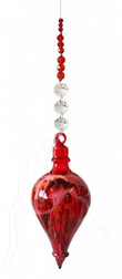 Red Hand Blown Bubble Beaded -Hanging