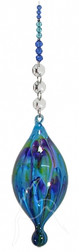Blue Hand Blown Bubble Beaded Hanging