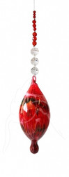 Red Hand Blown Bubble Beaded Hanging.