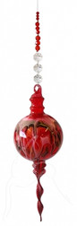Red Hand Blown Bubble Beaded Hanging
