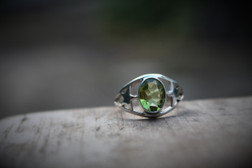 Faceted Peridot Ring - Size 6.5
