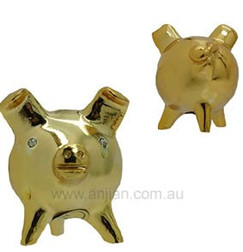 "3 Legged Pig Statue, ""Love & Good Luck"", Chancitos, gold finish"