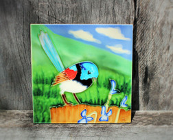 Blue Wren with flowers Tile Small