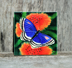 Butterfly & Red Flower small tile