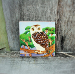 Owl On Branch Tile Small