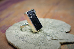 Black Tourmaline Ring Rectangle