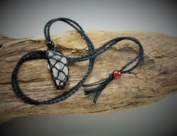 Medium point hemp crystal  cage holder Necklace -  Black