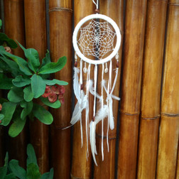 DREAM CATCHER WHITE WITH SHELL & NATURAL BEAD.