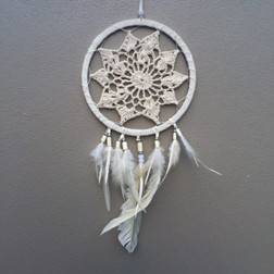 CROCHET LACE DREAM CATCHER WHITE WITH WHITE FEATHERS & BEADS