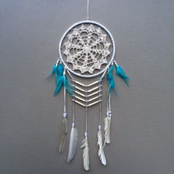 CROCHET LACE DREAM CATCHER WHITE WITH AQUA AND WHITE FEATHERS