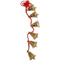 6 Gold Bells & Beads on Red Cord 320mm