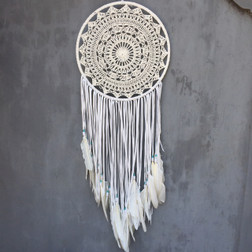 DREAMCATCHER CROCHET LACE WITH WITH FEATHERS AND AQUA BEADS  30CM