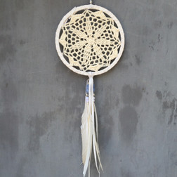 CROCHET LACE DREAMCATCHER WITH BLUE BEAD AND WHITE FEATHERS  15CM