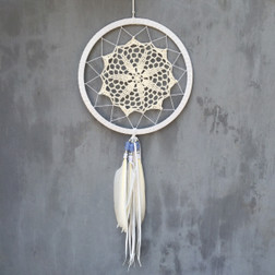 DREAMCATCHER CROCHET LACE WITH BLUE BEADS AND WHITE FEATHERS.  20CM