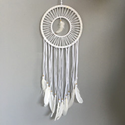 WHITE CIRCLE DREAMCATCHER WITH WHITE FEATHERS AND SOFT GOLD BEADS