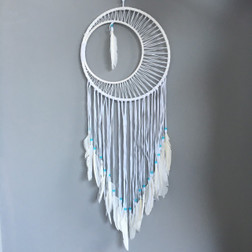DREAMCATCHER WITH WHITE FEATHERS,  WHITE AND TURQUISE BEADS.  30CM