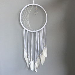 WHITE DREAMCATCHER WITH SWAN FEATHERS AND A BEAUTIFUL CRYSTAL DROP