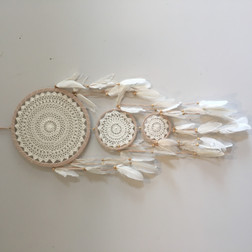 Caramel Dream catcher with white crochet lace