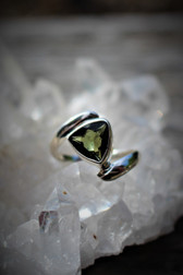 Faceted Moldavite sway ring size 7.5