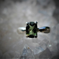 Rectangle faceted Moldavite ring size 6.5