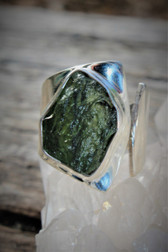 Raw Moldavite ring Size 8