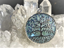 Aqua Aura Tree of Life pendant
