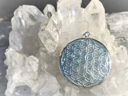 Aqua Aura Flower of Life pendant