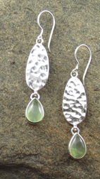 Prehnite Earrings with hammered Silver