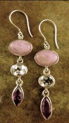 Kunzite, White Topaz, Amethyst earrings
