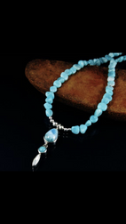 Amazonite beads with Larimar and Mother of Pearl