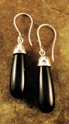 Black Tourmaline earrings silver capped