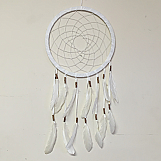 27cm Dreamcatcher - White with Gold Beads