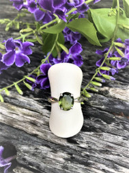 Faceted Moldavite Ring size 7.5