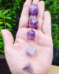 Amethyst Platonic Solid Set