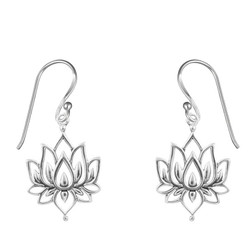 Sterling Silver Blossoming Lotus Earrings