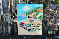 Boats on the Beach Ceramic Tile