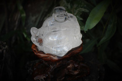 Clear Quartz Carved Buddha including wooden tree stand