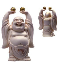 Laughing Buddha Standing Statue Holding Pearls of Wisdom