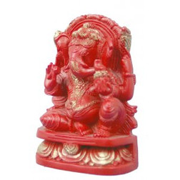 Carnelian Red Statue of Ganesha