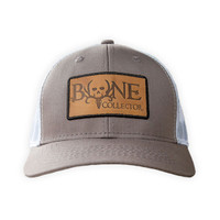 Bone Collector Classic Leather Patch DK Gray/White Mesh Hat