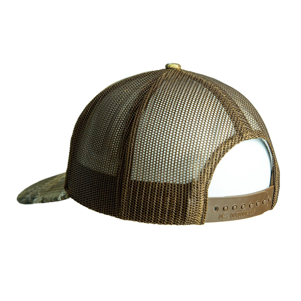 bone collector edge snapback leather hat back