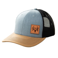 Bone Collector Tri Color Offset Patch Trucker Grey Black Gold snapback hat left leather patch