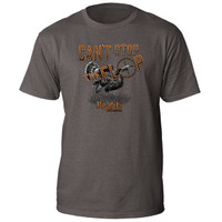 bone collector cant stop the flop cstf tee charcoal turkey gobbler graphic front