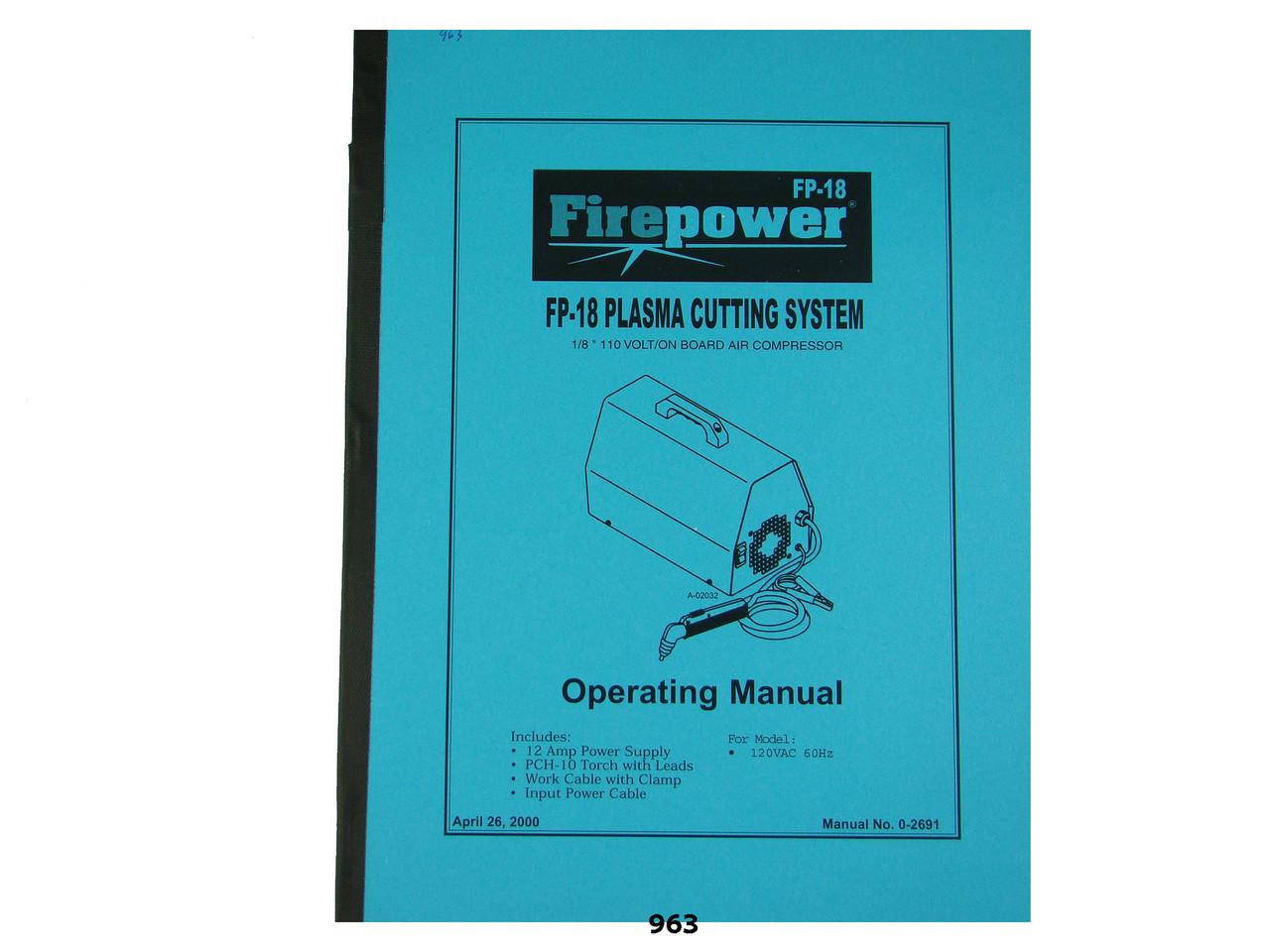 Thermal Dynamics Firepower FP-18 Plasma Cutter Operating Manual *963