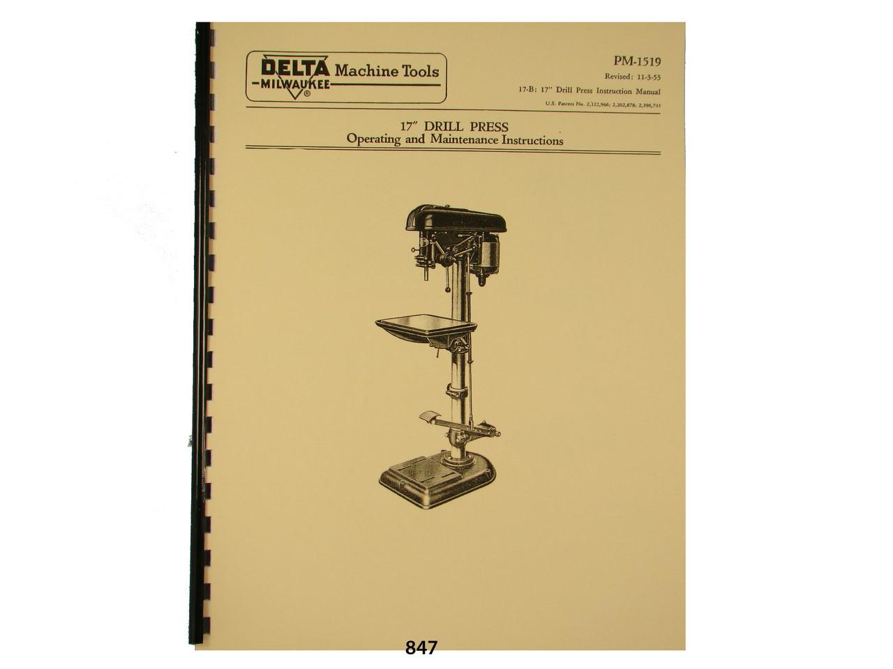 """DELTA 14/"""" Super-Hi-Speed Drill Press Operator /& Part Manual 0200"""