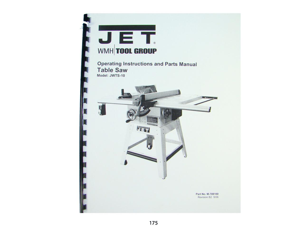 Jet  10-20 Plus  Drum Sander Operating Instruct /& Parts  Manual *205