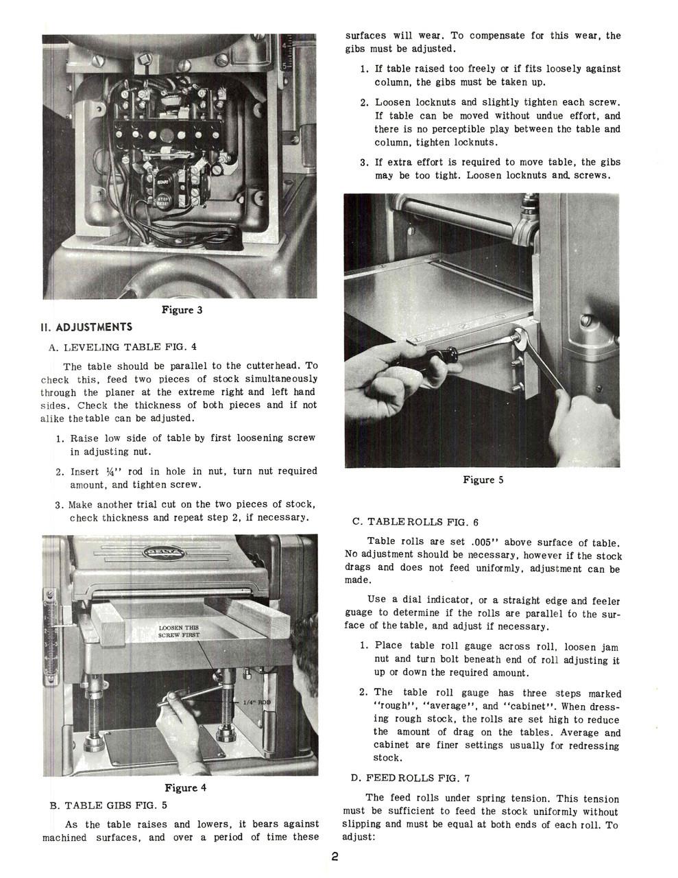 Rockwell Delta 18 Inch Planer Manual 1964