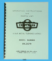 """Sears Craftsman 6"""" Lathe 101.21270 Operating Instructions & Parts List Manual Cover"""