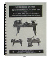 South Bend Lathe Series O, N, R, T, & Junior Operation & Parts List Manual #1741