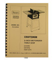 "Sears Craftsman 113.24140 9"" Table Saw Operator & Parts Manual #1496"